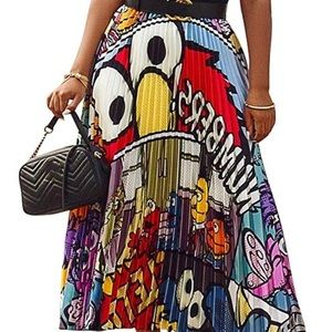 Pleated XXL Sesame Street Graphic Skirt
